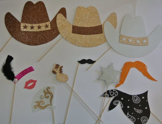 Western  photo booth props  Cowboy Photo by weddingphotobooth