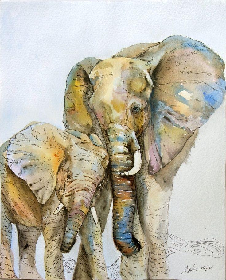 OOAK 8x10 Original Watercolor Elephant art- Nursery art-Children art