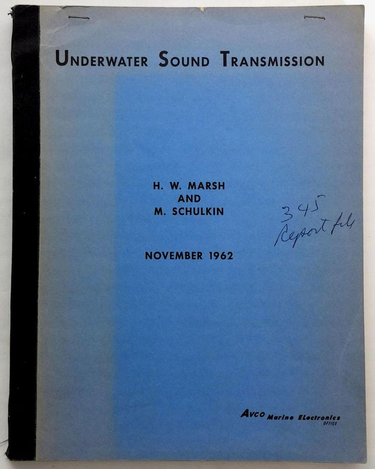 1962 Underwater Sound Transmission Acoustic Wave H.W. Marsh Avco Marine Corp.