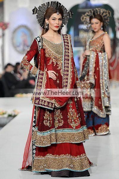 BW5500 Rufous Rosewood Crinkle Chiffon Banarasi Jamawar Sharara Ammar Shahid Red Bridal Sharara Dress at Bridal Couture Week New York City NY Bridal Wear