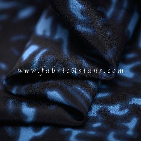 SALE Fabric Blue Black Silk. Abstract Print Silk. by fabricAsians