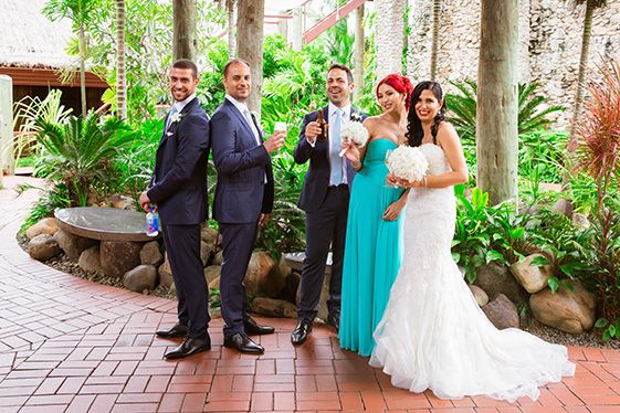 Outrigger Fiji Beach Resort Tuxedo Dress Bride Groom Bridesmaid Groomsmen Dress Veil Nature Outdoor Garden Palms Flowers Photography Reception Green Inspiration Ideas Wedding Planning