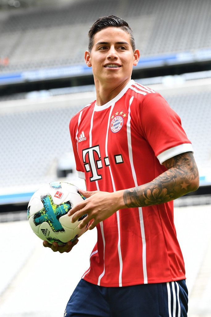 James Rodriguez of FC Bayern Muenchen smiles on the pitch of the Allianz Arena on July 12, 2017 in Munich, Germany.