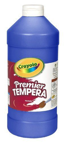 Crayola 54-1232-042 Premier Tempera Paint, 32-oz. Size, Blue, 1 Unit by Binney & Smith, Inc.. $17.42. Brilliant opaque tempera paint colors flow easily and dry to a matte finish.. Washable and water soluble.. Premier Tempera provides rich consistency, ultimate opacity, superior secondary color mixing, and brilliant colors to match a child's vivid imagination.. Break-resistant plastic squeeze bottles have an easy-dispensing air-tight flip-top lid pouring spout.. Freeze-thaw ...