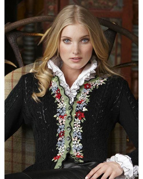 Вышивка по трикотажу и вязанному полотну, рококо, деревенские кофточки