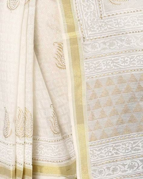 Buy Off-White Indie Picks Khari Print Maheshwari Saree