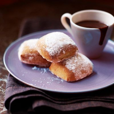 The easy espresso-chocolate dipping sauce gives the pillow-shaped pastries a caffeinated, Creole kick. #myplate #dairy