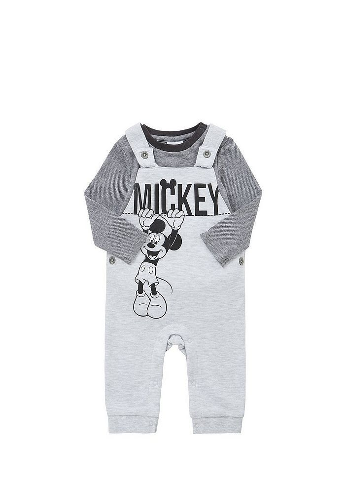 Tesco direct: Disney Mickey Mouse Long Sleeve Bodysuit and Dungaree Set