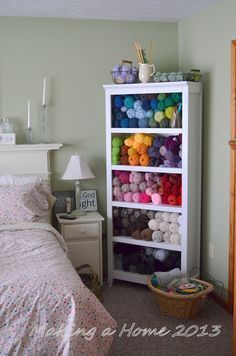 I so want this in my room someday! So pretty!   Making A Home: my yarn storage solution. Yarn as art. My personal version of heaven.