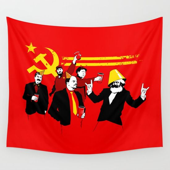 The Communist Party (original) Wall Tapestry. #illustration #vector #humor #political