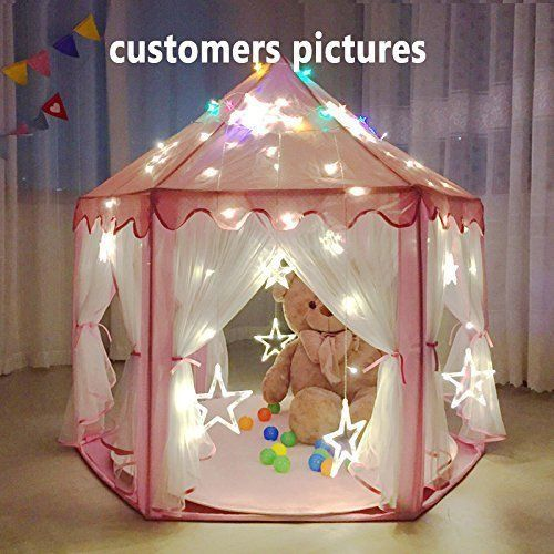 Girls Tent Princess Castle Play Playhouse Christmas Gift Led Lights Parties NEW  #GirlsTentPrincessCastlePlay