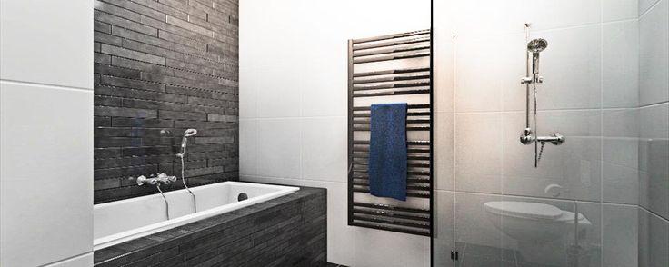 Stoere badkamer in zwart en wit