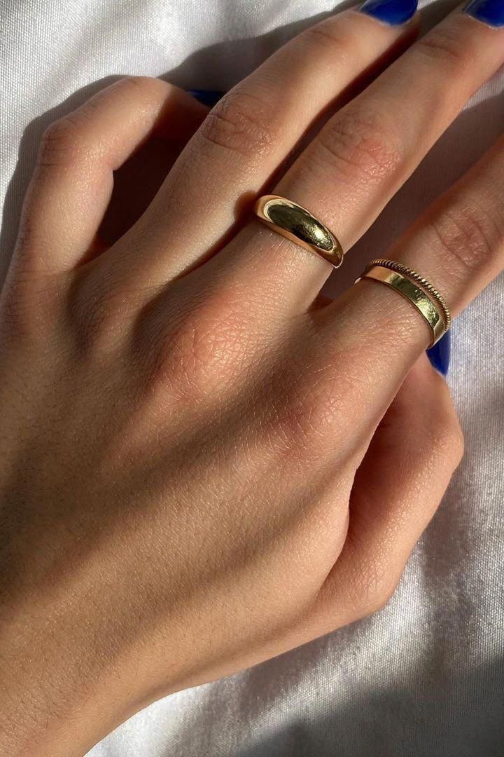 Ultra Thin Gold Filled Stacking Rings Set Of 5 14k Gold Fill Stacking Rings Skinny Gold Stacking Ring Hammered Gold Ring Gold Rings Fine Jewelry Ideas In 2020 Minimalist Jewelry Jewelry Domed Ring