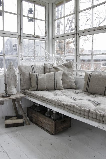 Sleeping Porch, French linens, ticking stripe, tufted mattress...