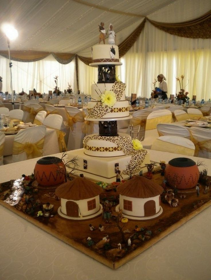 10 dramatic African inspired wedding cakes that would leave you in awe! Full of prints, beads, trees and many more details of Africa!