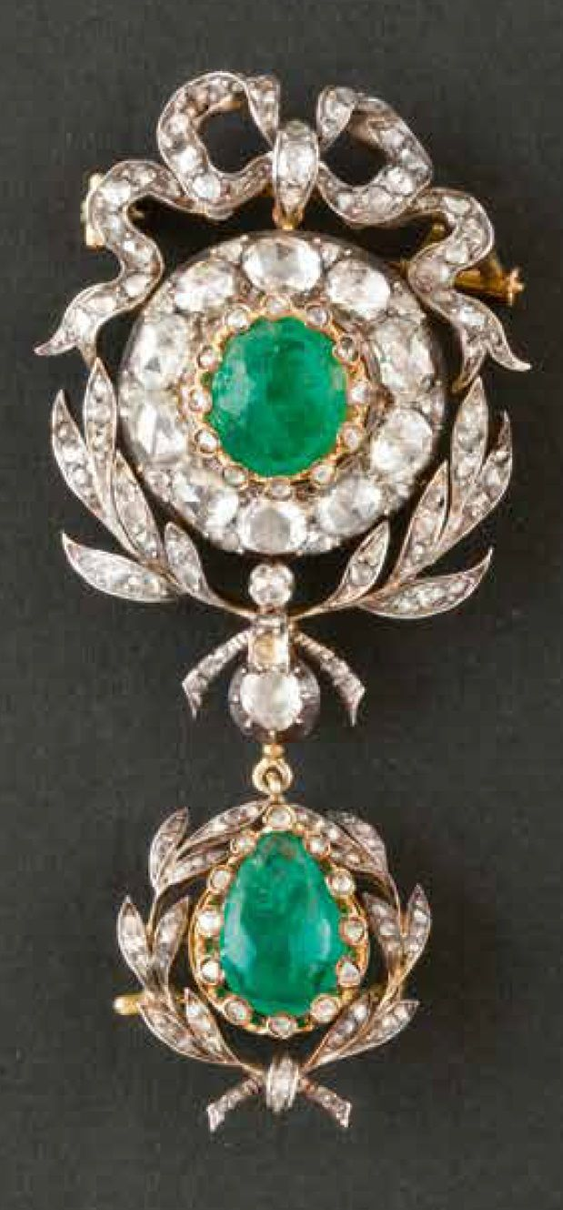 An antique gold, silver, emerald and diamond brooch, 19th century. #antique