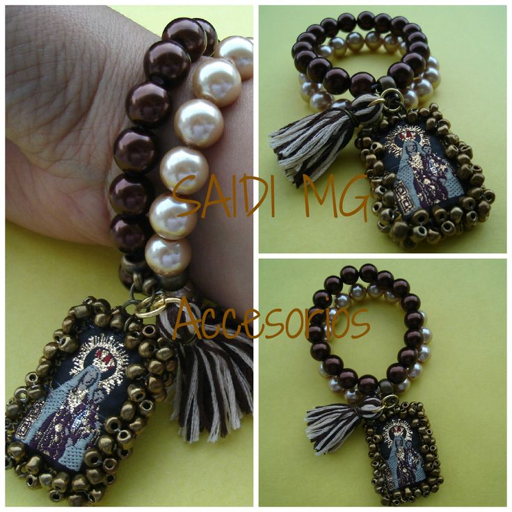 Escapulario Necklace: #escapulario#virgen#perlas#bordado#hechoenMexico