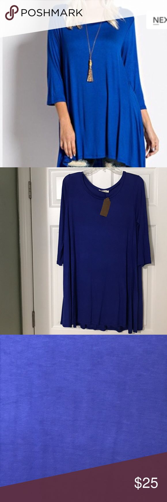 Royal blue 3/4 sleeve tunic Great A-line blue tunic for leggings or skinny jeans. Fabric is 5% spandex and 95% Rayon. Bought from boutique and was just a little too big for me. Size L is a little baggy. I'm a 10, think the told would be better for a size 12. Tops Tunics