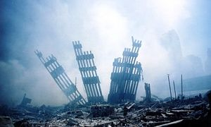 The rubble of the  World Trade Center in New York following the 11 September 2001 attack