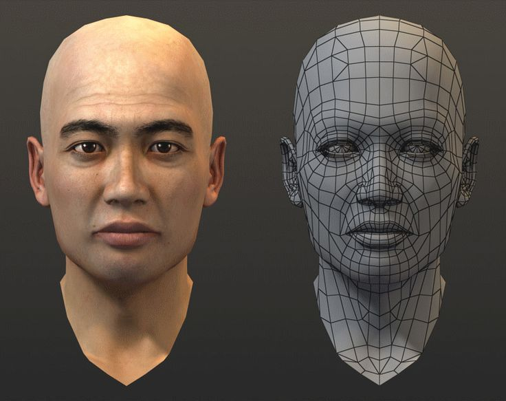 Chinese man head wireframe turntable