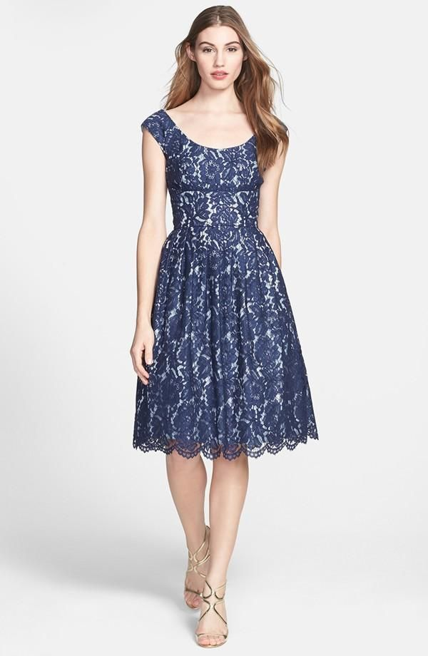 So pretty: navy lace and wide neckline