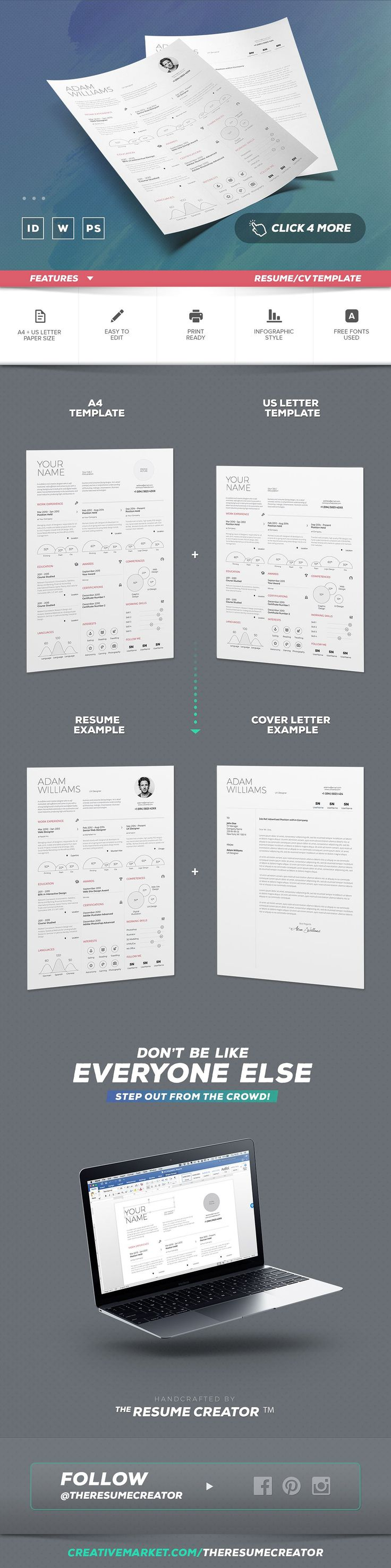 letter format for application%0A Infographic Resume Cv Template Vol   by TheResumeCreator on  creativemarket