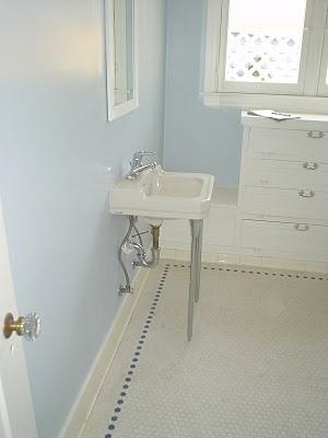 1920s bathroom hex tile white