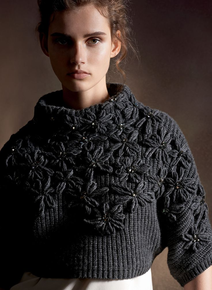 Brunello Cucinelli - maglia collo alto(lovely idea: crochet Flowers on a simple knit cape or Poncho)