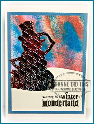 GRANNE: Winter Wonderland Greeting Card  with Rubber Dance Stamps