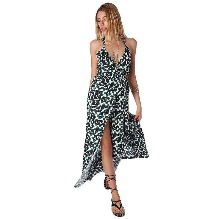 Maxi Print Dress with Crossback Detail and Thigh-high split Maxi print dress in woven fabric. Plunge neckline with wrap front detail and side hemline splits. Cross-back straps. Casual dress.