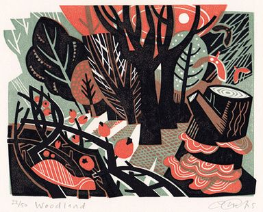 'Woodland' by Clare Curtis, linocut, nature, printmaking, design, colour, winter, berries, trees, forest, screen, print, illustration