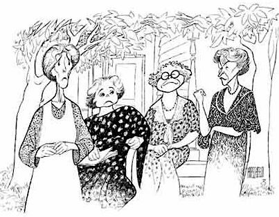 'mornings at seven with piper laurie, frances sternhagen, estelle parsons and elizabeth franz' by al hirschfeld