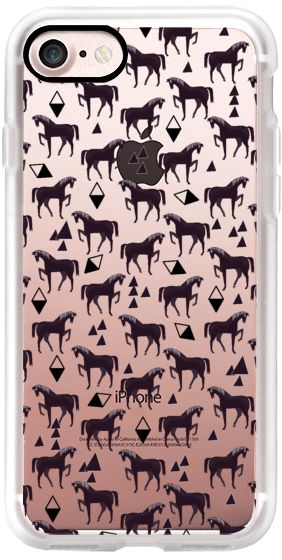 Casetify iPhone 7 Classic Grip Case - Horses - Pattern Black by elenor #Casetify