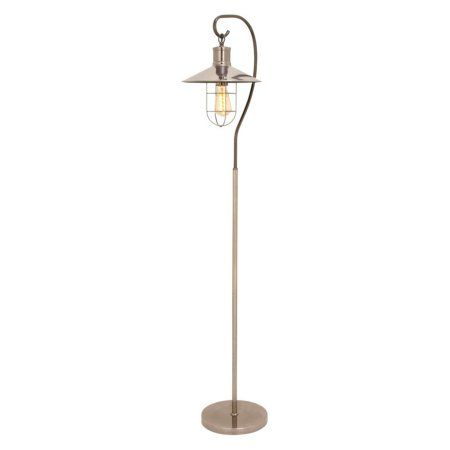 Trendy Metal Silver Floor Lamp with Bulb, Black