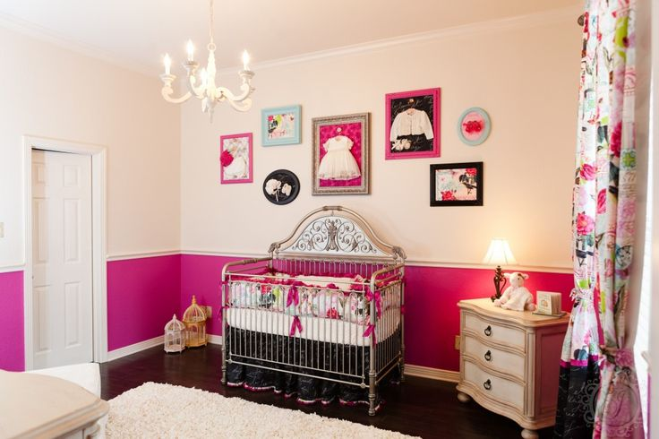 Love the idea of framed vintage baby clothes behind a vibrant fabric! #nursery #walldecor #vintage: Hot Girls, Nurseries Rooms, Hot Pink, Baby Girls, French Nurseries, Baby Rooms, Girls Nurseries, Girls Rooms, Baby Nurseries