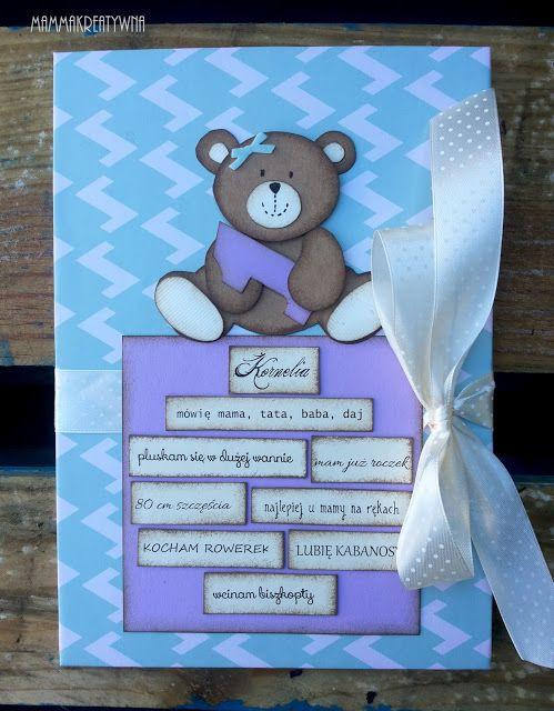 Ręcznie robiony album do zdjęć z misiem. Handmade scrapbooking photo album with mrs. Teddy Bear
