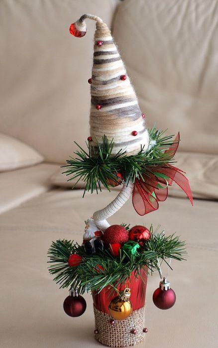 diy christmas topiary trees colored woolen motif small glass ball ornaments santa claus arrangement