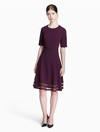 90250aa642b illusion 3 4 sleeve fit + flare dress