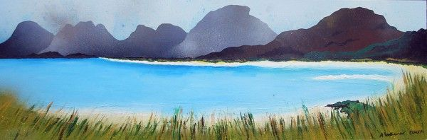 An original painting & prints of Seilebost Beach, Isle of Harris, Outer Hebrides, Scotland.  Original mixed media painting in acrylic paint, spray paint, oil paint and acrylic ink on box canvas.  Original painting sold, prints available below.  (REF: LH10) A range of framed, unframed and mounted prints are available