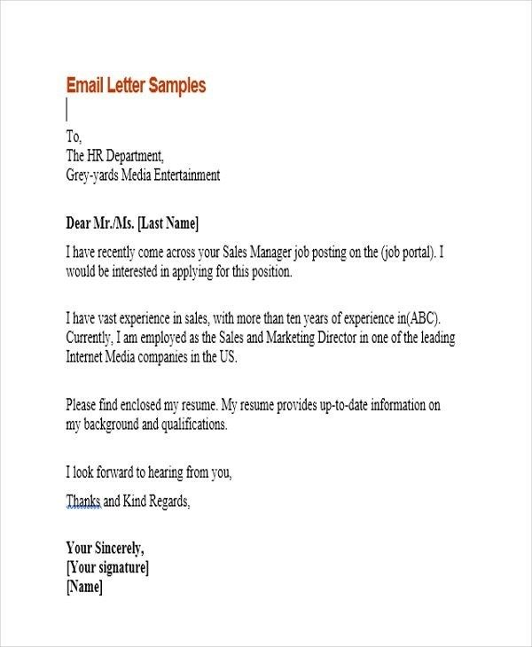 11 Sample Email Application Letters Free Premium Templates