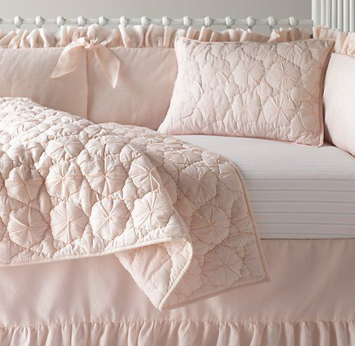Frayed Ruffle & European Vintage Stripe Nursery Bedding Collection | Nursery Bedding Collections | Restoration Hardware Baby & Child- love the color and quilt