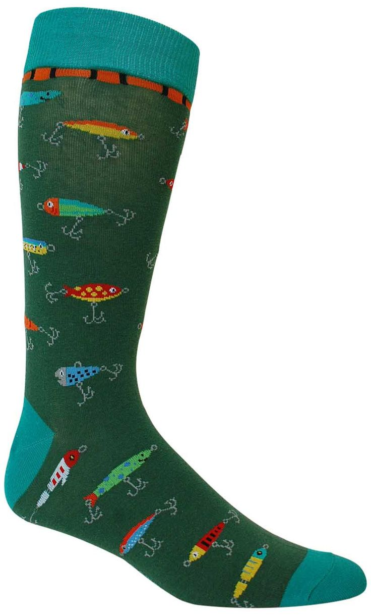 Fishing for compliments? You have come to the right place. Hook, line, and sinker these crazy fishing lure socks into your collection, and wear them whether you are out on the water or stuck on land.