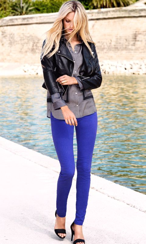 1000  ideas about Electric Blue Pants on Pinterest | Red skinny