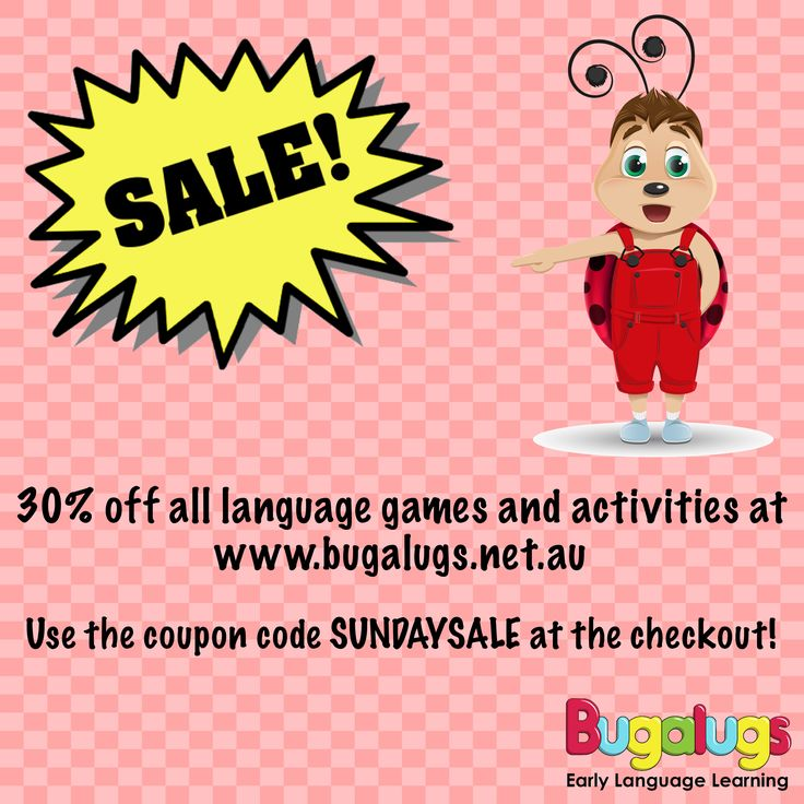 A 30% off Sunday SALE is happening right now at www.bugalugs.net.au! We have a range of over one hundred printable early language activities and games, available for instant download. There is everything from barrier games, board games, storybooks, flashcards, colouring books and much, much more! Use the coupon code: SUNDAYSALE at the checkout to get 30% off your entire purchase. Available for the first 100 customers only, so hurry!