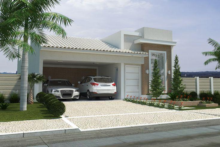 Planta de casa com fachada de tijolinho - Projetos de Casas, Modelos de Casas e Fachadas de Casas