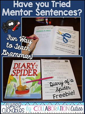 Freebie Mentor Sentence Lesson- Diary of a Spider