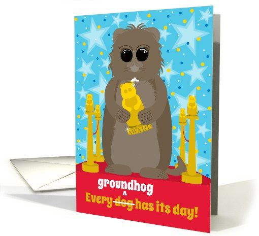 18 best groundhog day feb 2 images on pinterest holiday cards groundhog day funny groundhog with an award on the red carpet card by penny cork m4hsunfo