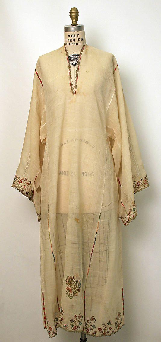 Dress (Underdress)    Date:      early 19th century  Culture:      Greek  Medium:      silk, linen, metal thread