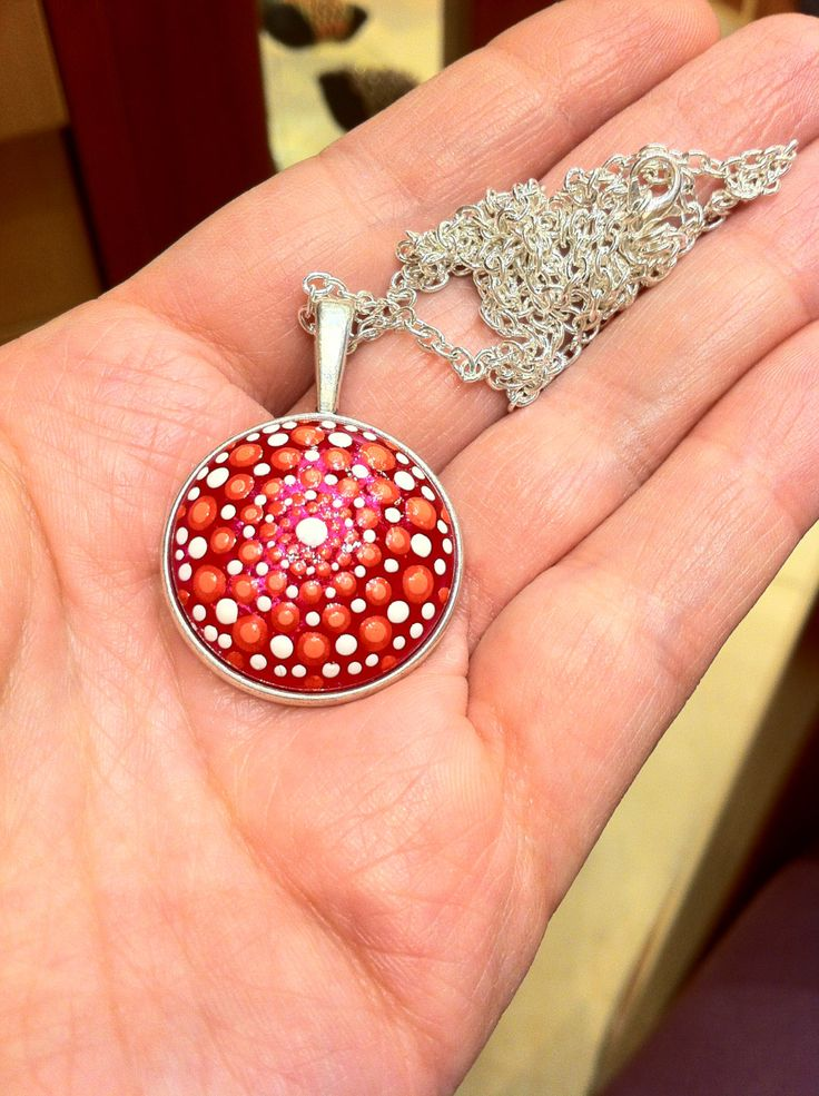 Red and white dot painted necklace on iridescant magenta cabochon by DandelyonDesign on Etsy