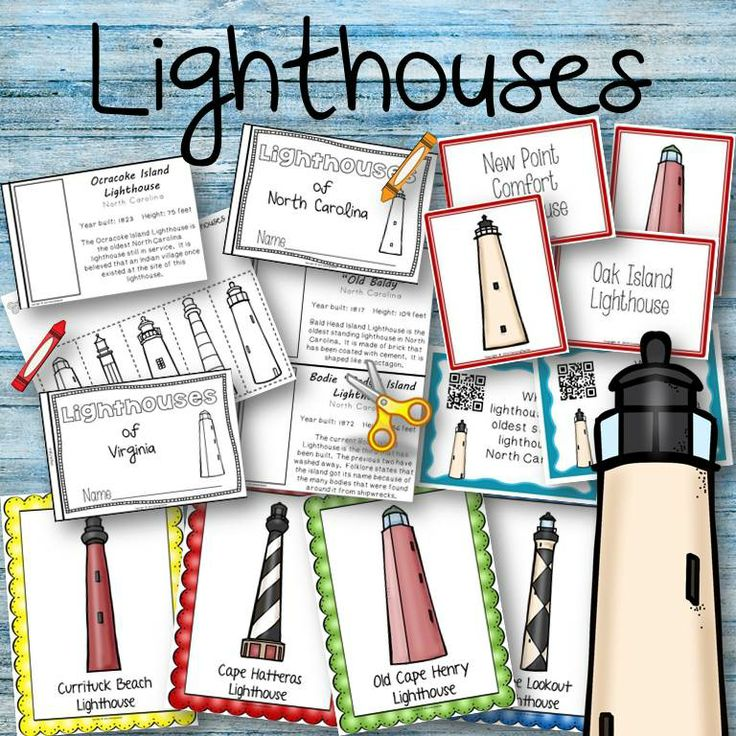 Lighthouses - Book to create, matching cards, posters, QR Task Cards for Virginia and North Carolina lighthouses.
